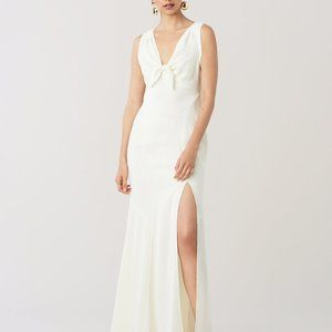 DVF Kimmy ivory formal maxi crepe gown wedding 10